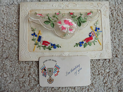 I'm Thinking Of You Card, WW1 Silk Antique Postcard