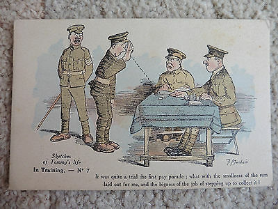 Sketches Of Tommy's Life, No.7, In Training, F. Mackain, WW1 Postcard