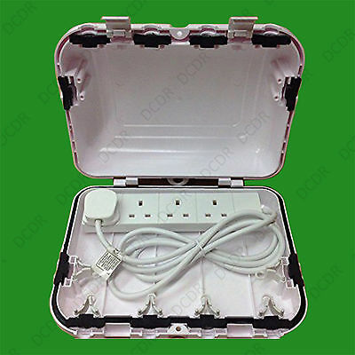 Weather Proof IP64 Outdoor Box Enclosure for 4 Gang 13A Extension Mains Socket