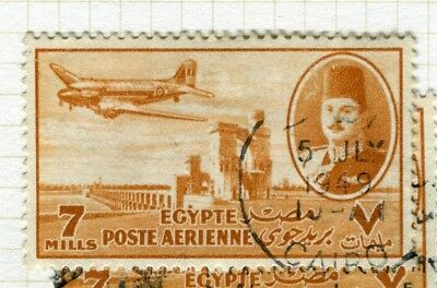 EGYPT;  1947 early AIRMAIL issue fine used 7m. value