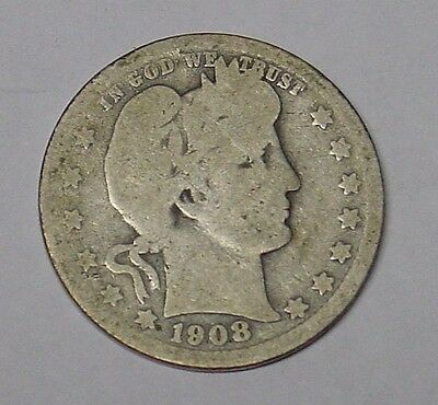USA 1908 Plain Barber Quarter Dollar. Average circulated grade, Good.