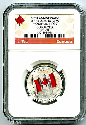 2015 Canada $25 Silver Ngc Sp70 50Th Anniversary Canadian Flag