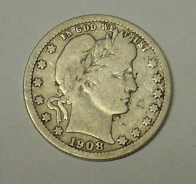 USA 1908O Barber Quarter Dollar. Nice reverse, VG.