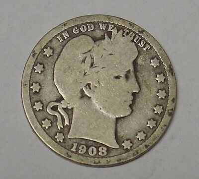 USA 1908S Barber Quarter Dollar. average circulated, Good, scarce.