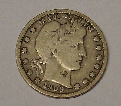 USA 1909D Barber Quarter Dollar. VG.
