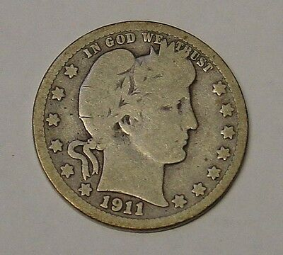 USA 1911D Barber Quarter Dollar. About VG and scarce.