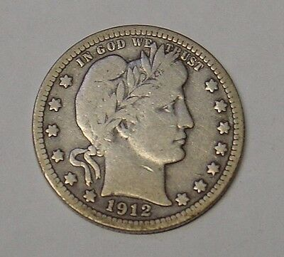 USA 1912 Barber Quarter Dollar. Very Good.