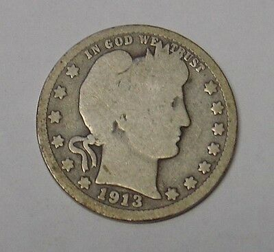 USA 1913D Barber Quarter Dollar. Near Very Good.