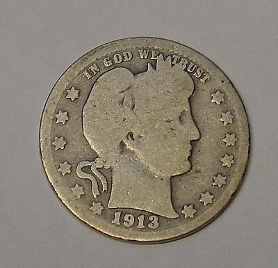 USA 1913 Barber Quarter Dollar. Good. Scarcer date.