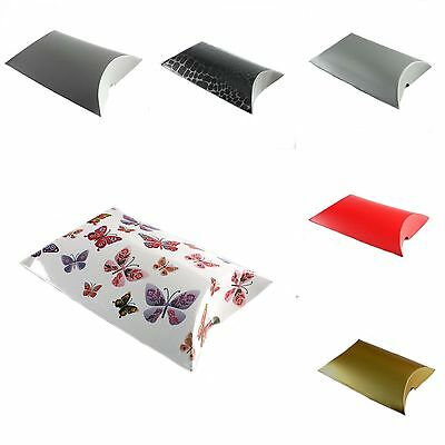 12 Small Pillow Package Gift Boxes Flat Pack Packaging - Various Colours