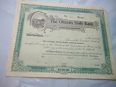 Never Issued $100. Stock Certificate Citizen's State Bank Kirwin Kansas