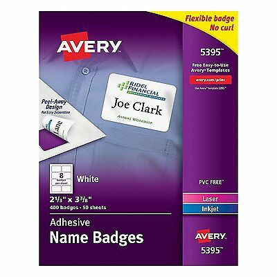 Avery Adhesive Name Badges, 2.33 x 3.38 Inches, White, Box of 400 05395