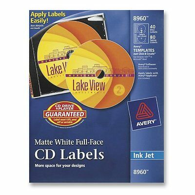 Avery CD Labels, White Matte, 40 CD Labels and 80 Spine Labels 8960