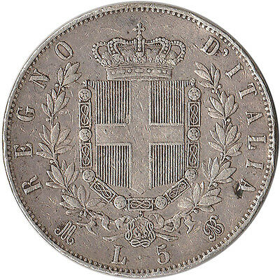 1872 Italy 5 Lire Large Silver Coin Vittorio Emanuele II KM#8.3