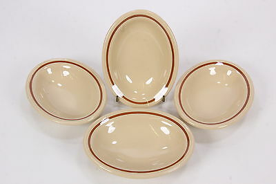 """4 Shenango Restaurant China Oval Bowl Bakers Beige W/ Brown Band 6 5/8"""" x 4 1/4"""""""