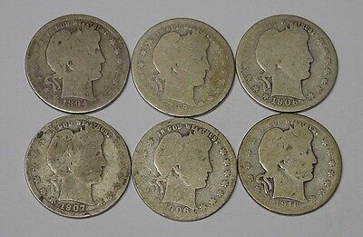 USA six Barber Quarter Dollars, 1894 - 1916, average circulated.