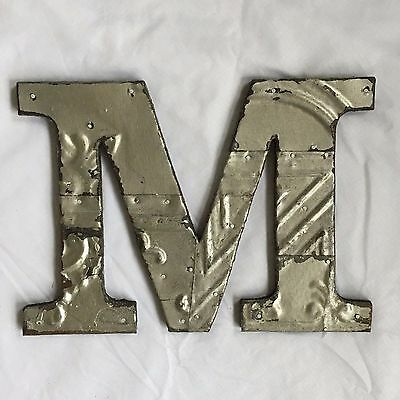 "Shabby Antique Tin Ceiling Wrapped 8"" Letter 'M'' Patchwork Metal Silver 295-17"