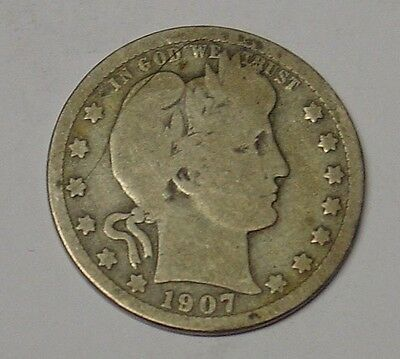 USA 1907 Barber Quarter Dollar, G/VG.