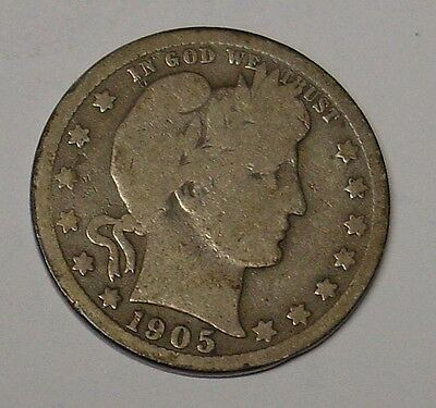 USA 1905S Barber Quarter Dollar, Near VG.