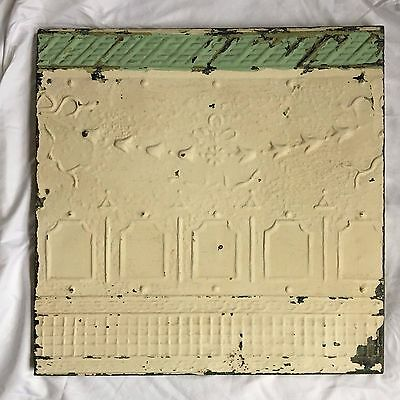 1890's 23 x 23 Antique Tin Ceiling Tile Metal Wrapped Wall Cream Green 297-17