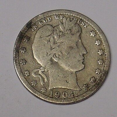USA 1904 Barber Quarter Dollar, Very Good.