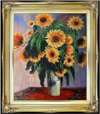 Framed, Claude Monet Sunflowers Repro, Hand Painted Oil Painting 20x24in