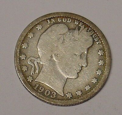 USA 1903O Barber Quarter Dollar, average circulated.