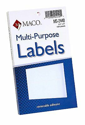 MACO White Rectangular Multi-Purpose Labels, 1-1/2 x 3 Inches, 160 Per Box