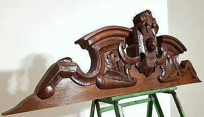 CARVED WOOD PEDIMENT SOLID ANTIQUE FRENCH COAT OF ARMS MOUNT CORNICE CREST 19 th