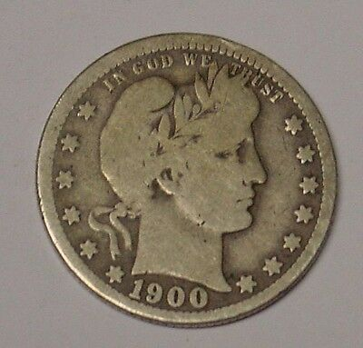 USA 1900 O Barber Quarter Dollar, Very Good.