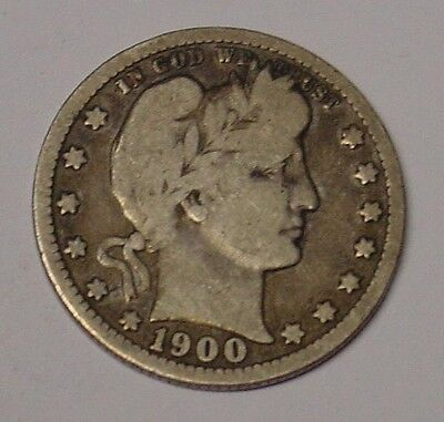 USA 1900 Barber Quarter Dollar, Very Good.