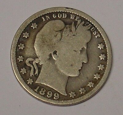 USA 1899 0 Barber Quarter Dollar, Very Good.