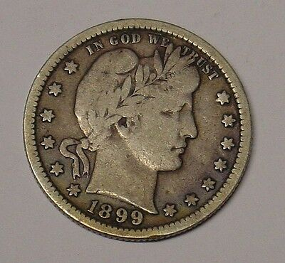 USA 1899 Barber Quarter Dollar, Fine.