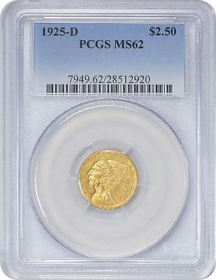 1925-D $2.50 Two and a Half Dollar Gold MS62 PCGS Indian Mint State 62