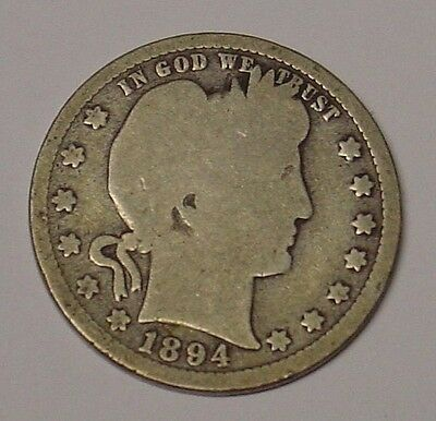 USA 1894 Barber Quarter Dollar, G/VG.