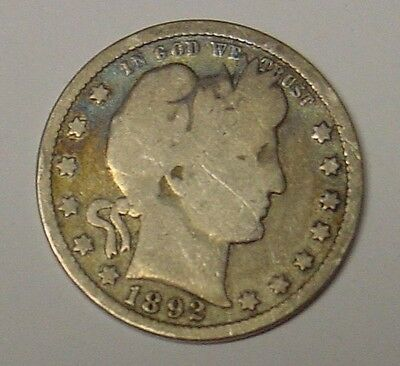 USA 1892 Barber Quarter Dollar, average circulated.