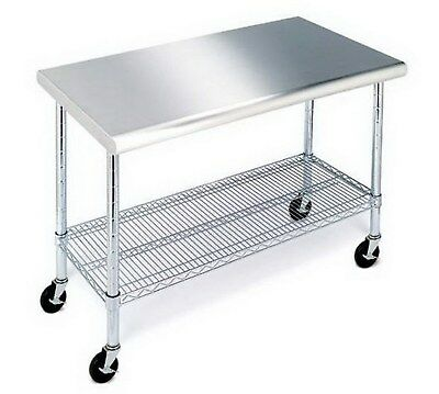"""New Stainless Steel Top Work Table Kitchen Restaurant Prep NSF Casters 24"""" x 49"""""""