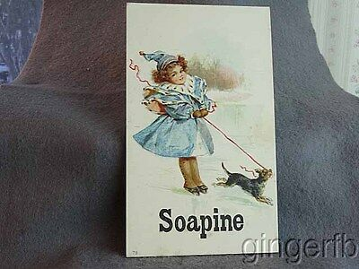 Victorian Trade Card Soapine Soap Girl and Skate & Dog