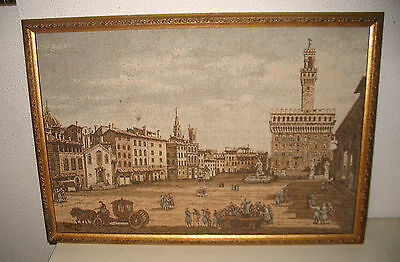 Framed Woven Fabric Wall Hanging Victorian City Scene