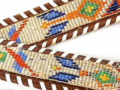 Native American Indian Phoenix vtg  Beaded Brown Tooled Leather Belt 26-29""