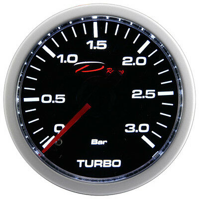 "D Racing 52mm 2"" Mechanical Turbo Boost Gauge Meter 3 BAR White LED"