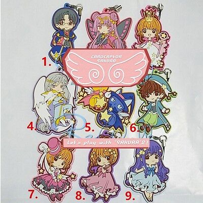 9pcs Set Card Captor Sakura Kinomoto Keychain Cute Rubber Phone Strap Keyrings