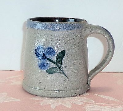 Rowe Pottery Works 1998 GLENFLOWER Tankard Mug Cup Blue Flower Salt Glaze NICE