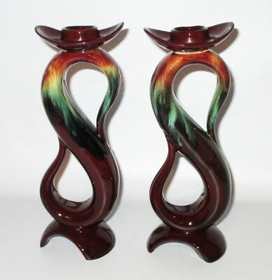 """CCC Rainbow Pottery 2 Candle Holders Tall 8 1/4"""" Flame Brown Green 1960s Canada"""