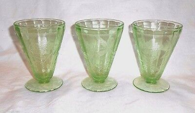 "3) POINSETTIA / FLORAL DEPRESSION GREEN GLASS JUICE TUMBLERS 4"" Jeannette Exc."