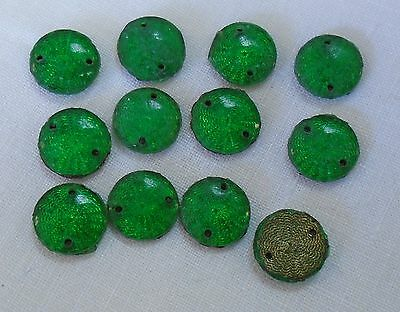 """1920's - 1 Doz. Antique Green Enamel Sew On Beads / Ornaments - Metal Back 3/8"""""""