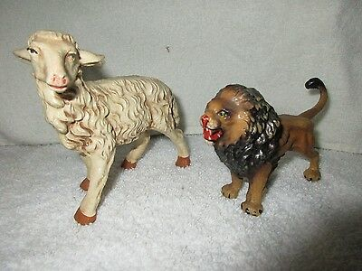Vintage Estate Italian Animal Figures Lion and Sheep Collectible Smalls