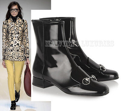 d99ed29ea798  995 Gucci Ankle Boots Lillian Black Leather Loafer Design Horsebit It 36  Us 6
