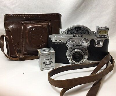 Univex Mercury Tricor 35mm  Camera With Leather Case and Exposure Meter