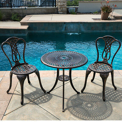 Outdoor Patio Furniture 3pcs Cast Aluminum Bistro Set Antique Table Chair Bronze